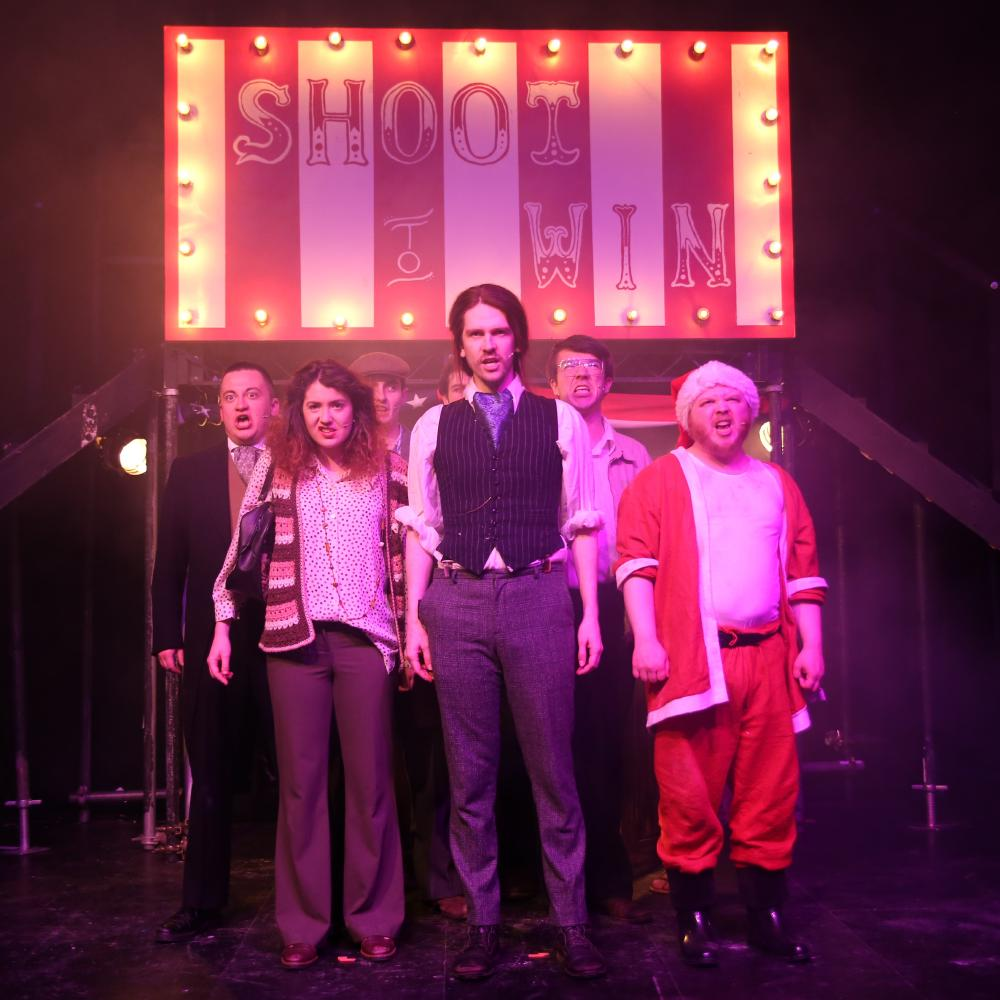 The cast of Assassins on stage, April 2019
